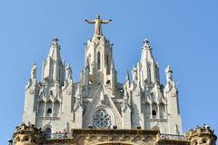 Kyrklig sakral hjärta - Tibidabo - Barcelona Arkivbilder