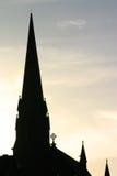 kyrklig silhouettesolnedgång Royaltyfri Fotografi