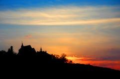 kyrklig solnedgång arkivfoto