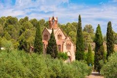 Kyrkliga Ermita Mare de Deu de la Riera i Les Borges del Campa, Tarragona, Catalunya, Spanien Kopiera utrymme för text Royaltyfria Foton