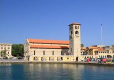 Kyrkliga Evangelismos i hamnstaden av Rhodes Arkivbilder