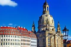 Kyrkliga Frauenkirche i Dresden Arkivbilder