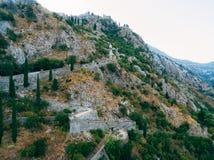 Kyrkliga Gospa od Zdravlja av Kotor på väggen, Montenegro, Kotor Arkivbilder
