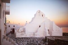kyrkliga greece mykonos Fotografering för Bildbyråer