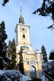 Kyrkliga heliga Trinitz Typisk stads- landskap av staden Brasov, i vintertid, Transylvania, Rumänien Royaltyfri Foto