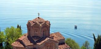 Kyrkliga Jovan Kaneo, Ohrid sjö Royaltyfria Foton