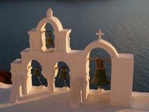 Kyrkliga Klockor, Oia, Santorini royaltyfria foton