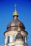 Kyrkliga kupoler med guld- kors Royaltyfri Bild