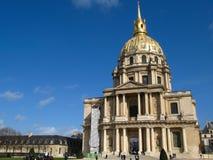 kyrkliga kupolfrance invalides paris Royaltyfri Fotografi