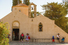 Kyrkliga Panagia Kera i Kritsa i Kreta Royaltyfria Foton