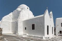 Kyrkliga Panagia Paraportiani på Mykonos i Grekland Royaltyfria Foton