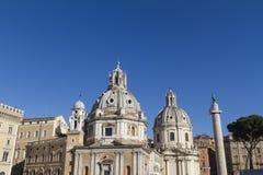 Kyrkliga Santa Maria di Loreto Rome Arkivfoto