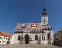 Kyrkliga St Mark, Zagreb, Kroatien Arkivfoto