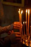 Kyrkliga stearinljus Royaltyfri Bild