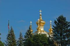 kyrkliga storslagna slottpetrodvorets Royaltyfri Foto