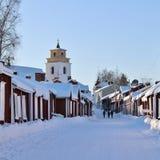 Kyrkliga stugor i Gammelstad i Gammelstad kyrktar staden Fotografering för Bildbyråer
