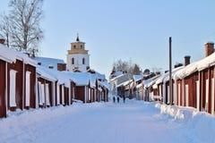Kyrkliga stugor i Gammelstad i Gammelstad kyrktar staden Royaltyfri Foto