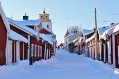 Kyrkliga stugor i Gammelstad i Gammelstad kyrktar staden Arkivbilder