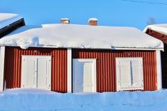 Kyrkliga stugor i Gammelstad kyrkastad Royaltyfria Bilder