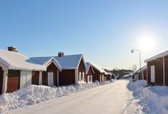 Kyrkliga stugor i Gammelstad kyrkastad Royaltyfri Fotografi