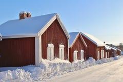 Kyrkliga stugor i Gammelstad kyrkastad Arkivfoto