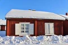 Kyrkliga stugor i Gammelstad kyrkastad Royaltyfri Foto