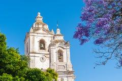 Kyrkliga torn i Lagos, Algarve, Portugal Royaltyfri Foto