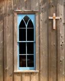 Kyrkligt fönster för blått royaltyfri fotografi
