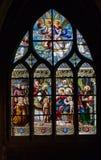 kyrkligt glass fönster för paris saintseverin Arkivfoton