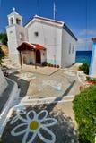 kyrkligt grekiskt ortodoxt Avlakia SAMOS Grekland Arkivfoto