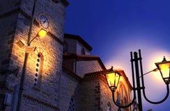 Kyrkligt helgon Athanasios Kimi Euboea Greece för natt Royaltyfri Foto