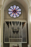 Kyrkligt organ inom den Braunschweig domkyrkan Royaltyfri Foto