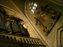 Kyrkligt organ medeltida inre sibiu Royaltyfria Bilder