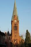 Kyrkligt torn i wroclawen, Breslau, Polen. Arkivfoton