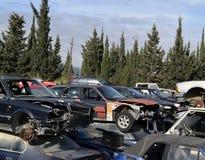 Kyrkogård av bilar förrådsplats av bilar Royaltyfri Fotografi