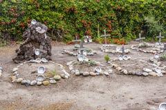 Kyrkogård av Carmel Mission Arkivfoto