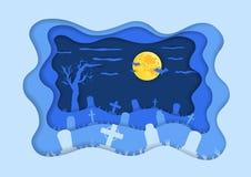 Kyrkogård- eller kyrkogårdbakgrund i pappers- klippt stil fotografering för bildbyråer