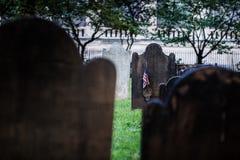 Kyrkogård för Treenighetkyrka på Wall Street och Broadway, Manhattan, Royaltyfri Bild