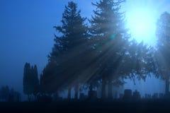 Kyrkogård i blå dimma arkivfoton