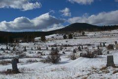 Kyrkogård i de snöig bergen arkivbild