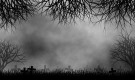 Kyrkogård i kuslig bakgrund för trädskogdesign vektor illustrationer
