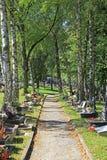 Kyrkogård i staden Ruzomberok, Slovakien Arkivbilder