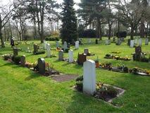 Kyrkogård i vår i solen Arkivbilder