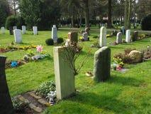 Kyrkogård i vår i solen Arkivbild