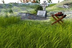 Kyrkogård med en gravsten och ett kors på öppet område Fotografering för Bildbyråer
