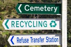 Kyrkogård- och för återvinningstationsgata tecken arkivfoton