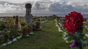 Kyrkogård på Hanga Roa, påskö, Chile Arkivfoton