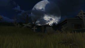 Kyrkogård på nattlängd i fot räknat stock video