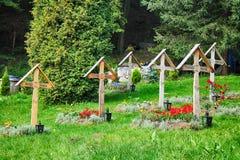 Kyrkogård på Prislop Royaltyfria Bilder
