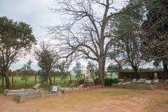 Kyrkogård på skymning royaltyfri bild